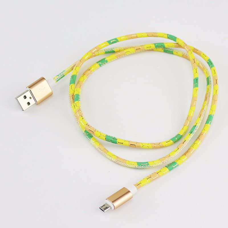 ShunXinda -Colorful Leather Pattern 1m Micro Usb Cable For Android Device Phone |-3
