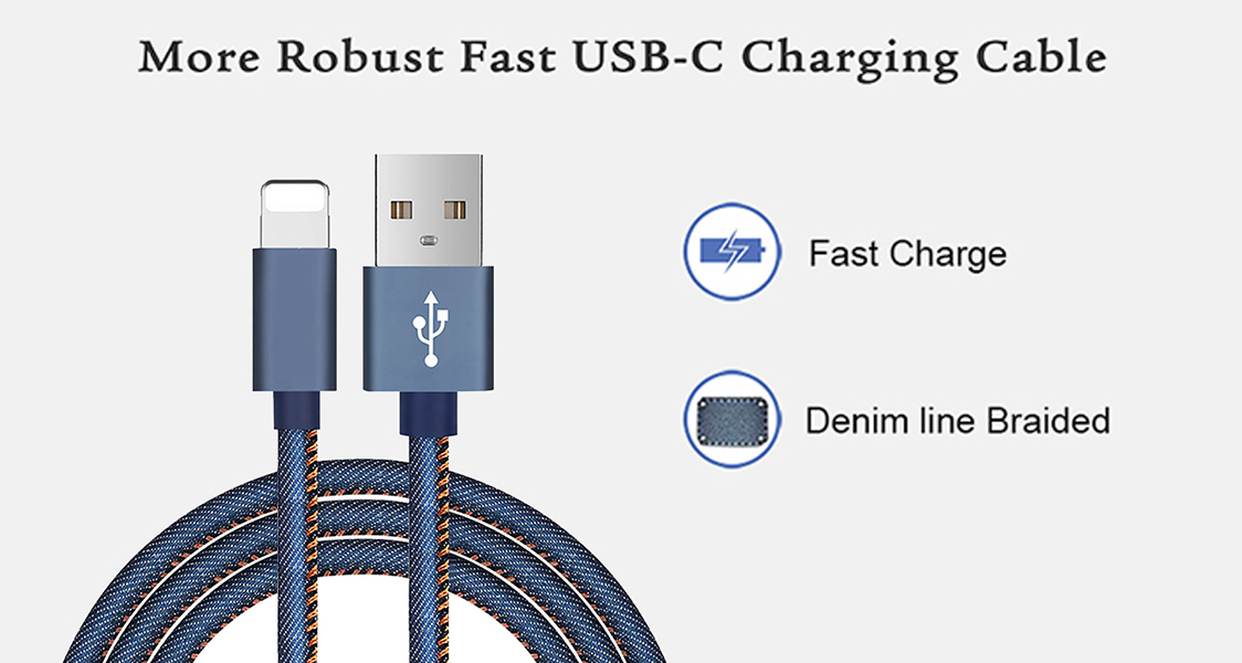 ShunXinda -Professional 3 Ft6ft9ft Durable Denim Type C Usb Data Cable For Ipad