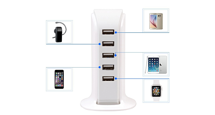 ShunXinda -Best Usb Outlet Adapter Portable 5 Usb Ports Power Adapter 5v 6a Charger