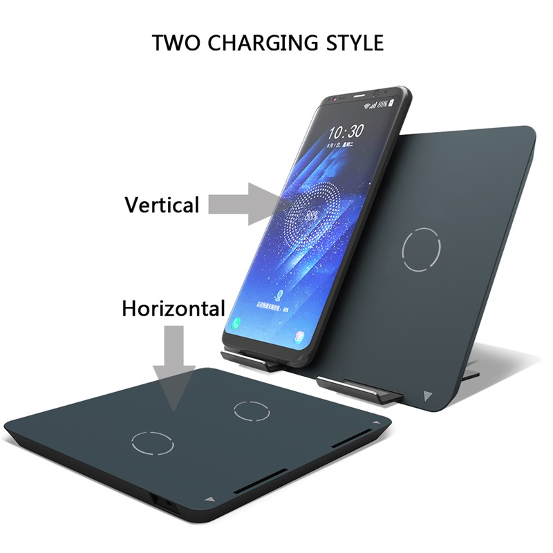 ShunXinda -Dual coils Qi wireless charger stand fast charger holder for iPhone 8 Samsung SXD301