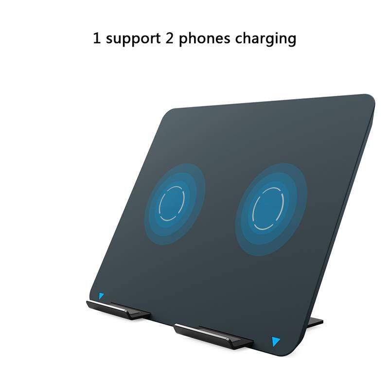 Dual coils Qi wireless charger stand fast charger holder for iPhone 8 Samsung SXD301