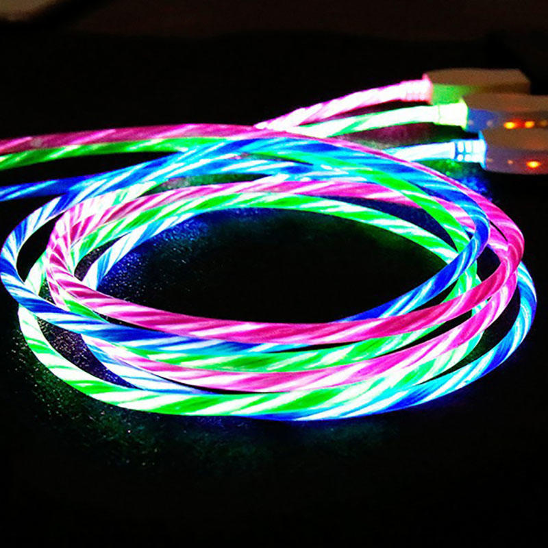 New Arrival Flowing Visible LED Light-Up USB Data Sync Charger Cable for iPhone SXD151