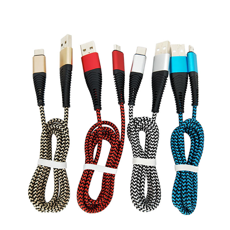 New design alu head 5V 2A nylon braided usb cable