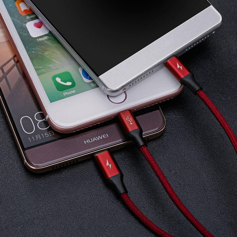 Multiple cloth braided 3 in 1  usb data cable