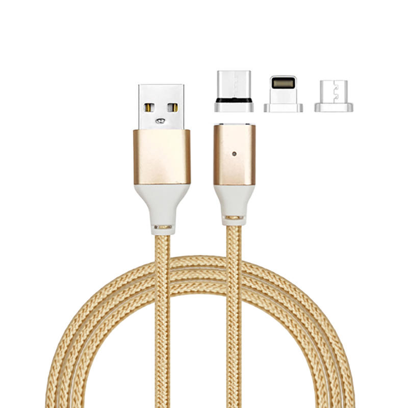 3 in 1 magnetic cable nylon braided  usb cable