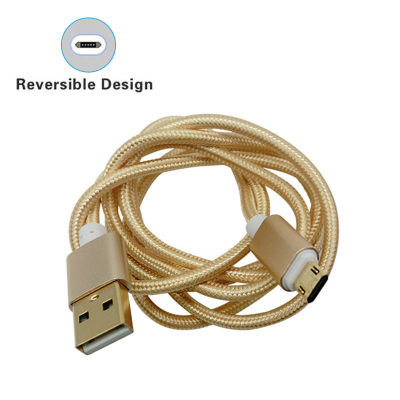 Double side micro V8 nylon braided data charging usb cable for mobile phone SXD130