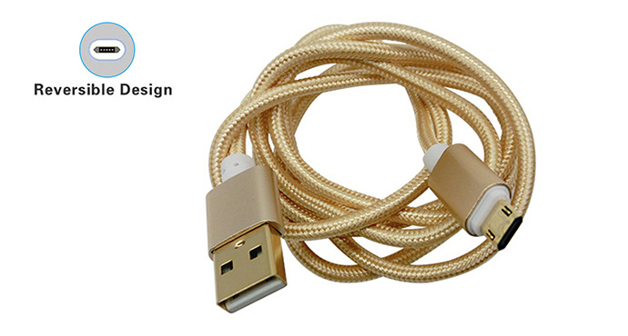ShunXinda -Usb To Micro Usb, Double Side Micro V8 Nylon Braided data Charging Usb-4