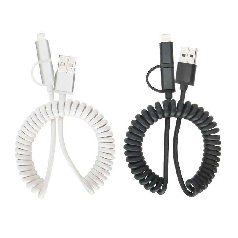 PU spring coiled 2 in 1 usb cable micro 8 pin charging sync data usb cable for iphone android SXD108