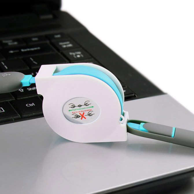 ShunXinda -Wholesale Retractable Usb Cable 2in1 Micro Usb Charging Cable For Iphone-4