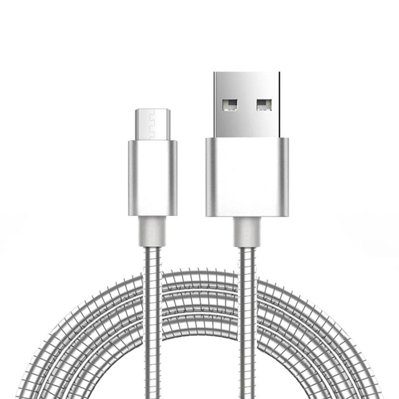 Stainless steel Metal spring fast charging usb cable SXD002