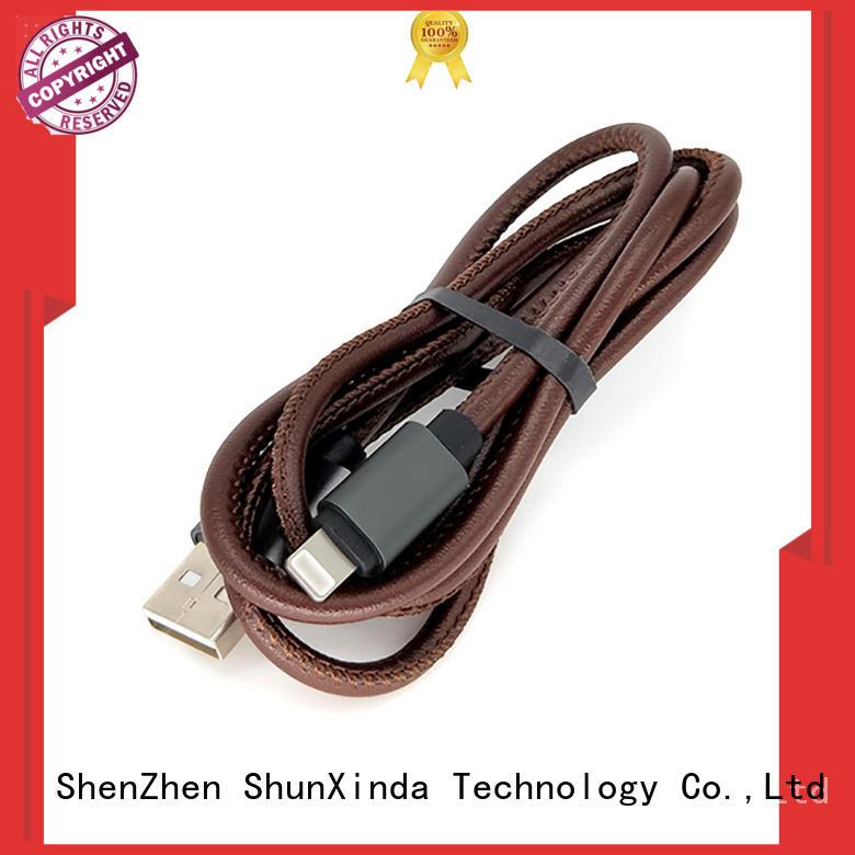 ShunXinda Brand pu braided custom iphone usb cable oem