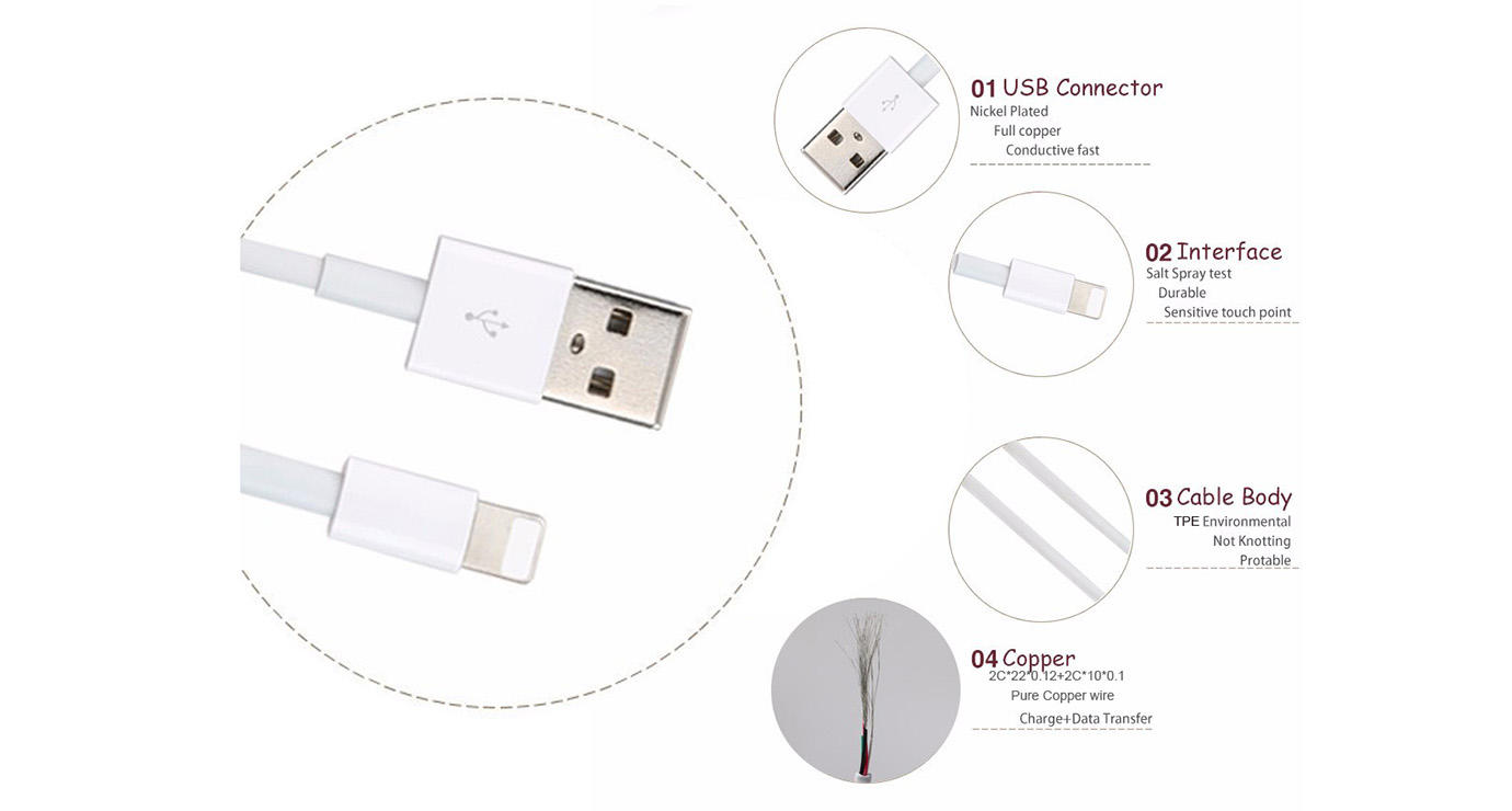 ShunXinda -Whilte Genuine Apple Lightning Cable for iphone 6-1