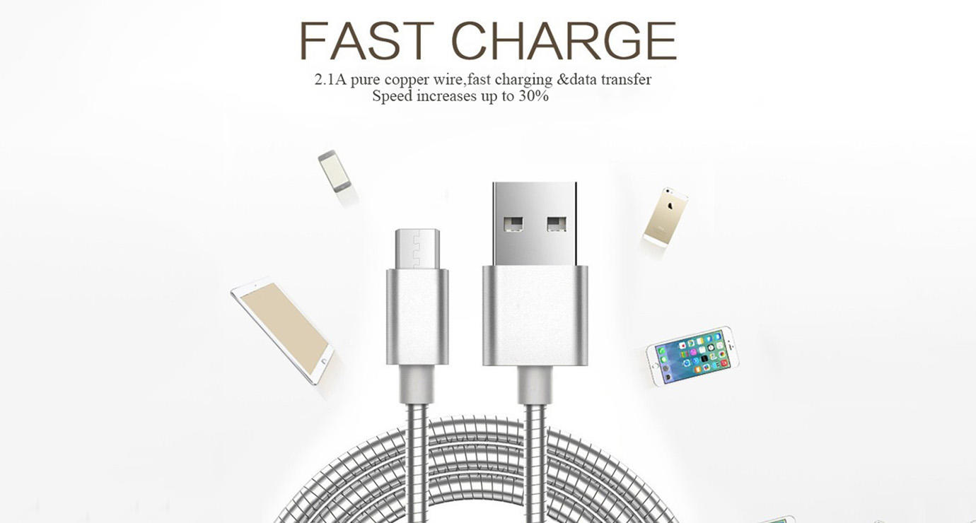 ShunXinda -Best Cable Micro Usb Stainless Steel Metal Spring micro Usb fast Charging-1