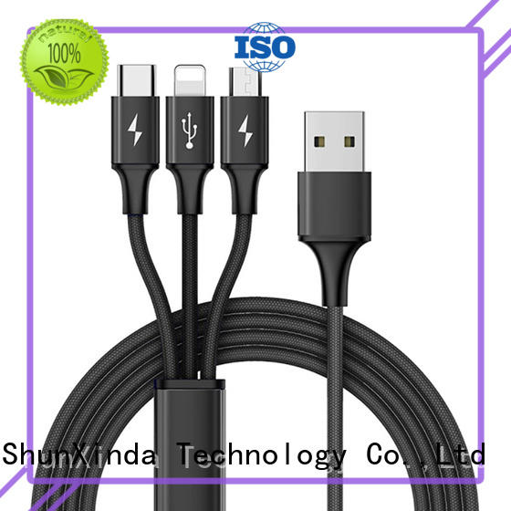 ShunXinda Brand coiled android data nylon multi charger cable