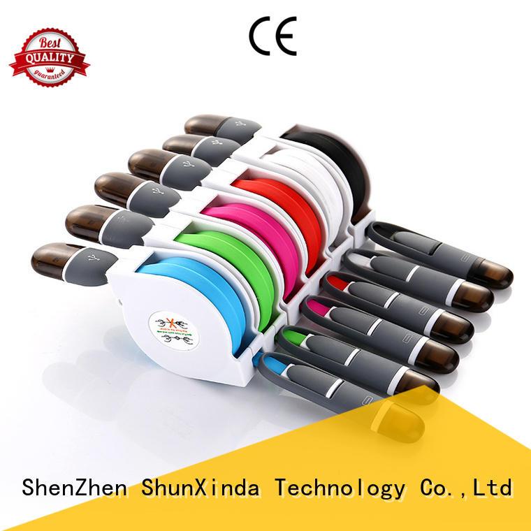 ShunXinda Brand nylon pin retractable multi charger cable