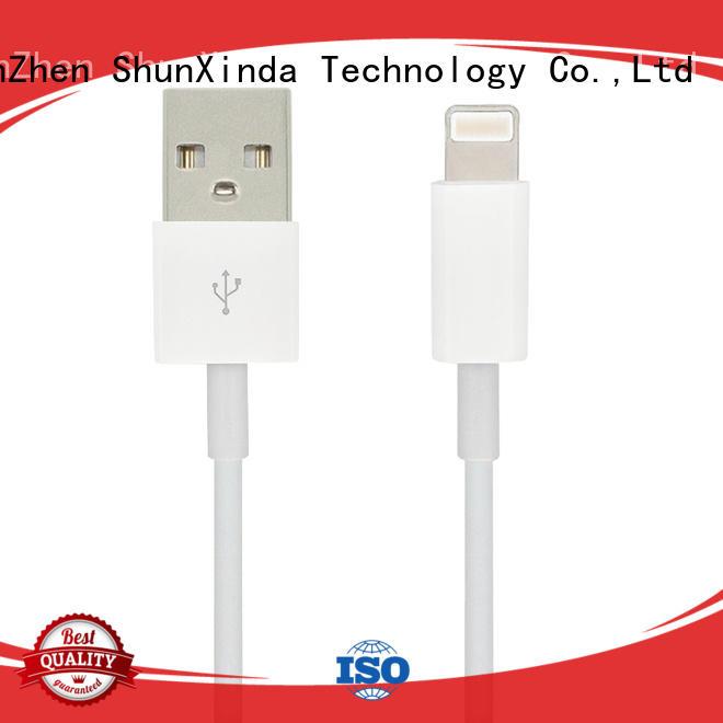 Hot leather iphone usb cable oem charging ShunXinda Brand