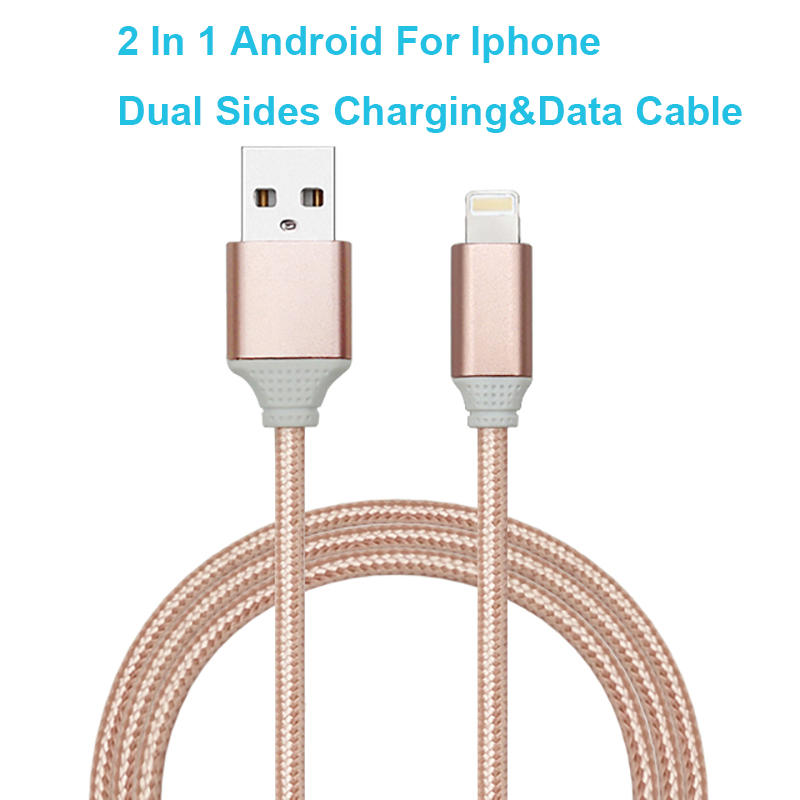 Fast Charging 2 in 1 Nylon Braided Dual Sided Charging Data Cord for Iphone Android