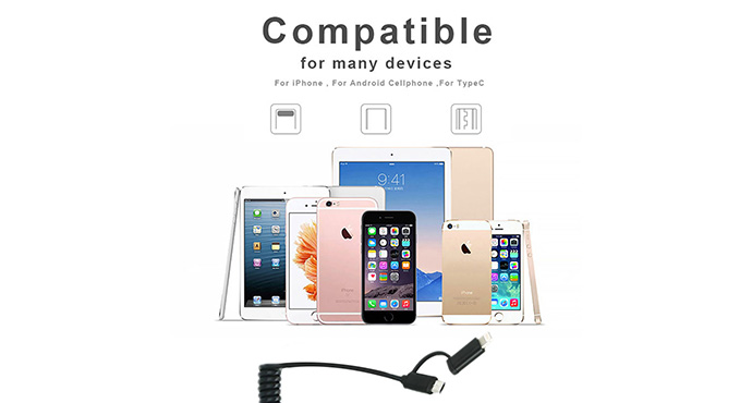 ShunXinda -Pu Spring Coiled 2 In 1 Usb Cable Micro 8 Pin Charging Sync Data Usb Cable-5