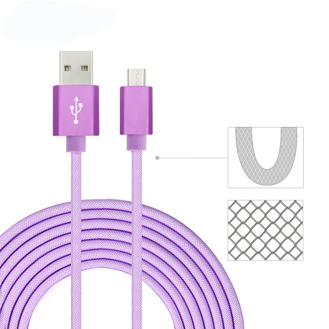 5V 3A  fishnet braided micro to usb 2.0 cable