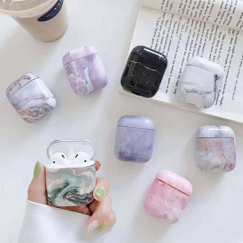 2019 hot sale Apple marble pattern PC airpods cover case for airpods 1&2