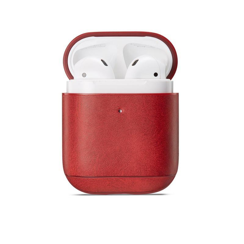 Microgroove leather airpods case for apple airpods 1 & 2
