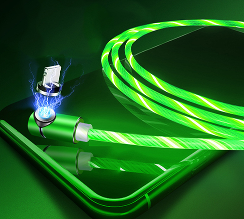 product-360 ° magnetic 3 in 1 led flowing charging usb cable with data transfer SXD146-2-ShunXinda -